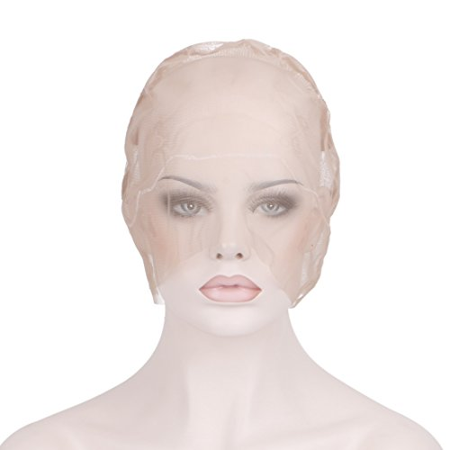 Lace Wigs French Full (Creamily Professional Swiss Lace Wig Caps for Making Wig with Adjustable Straps Medium Size 22.5inch (Full Lace Cap, Light Brown Color))
