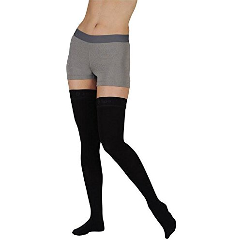 Juzo 2002 Soft Open Toe Thigh Highs w/Silicone Band Border - 30-40 mmHg Short Navy I Short 2002AGSBSH09 I