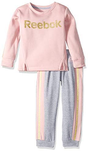 Reebok Girls' Big 2 Piece Spun Poly Fleece Glitter Logo Sweatshirt, Jog Pant, Medium Heather Grey, 10