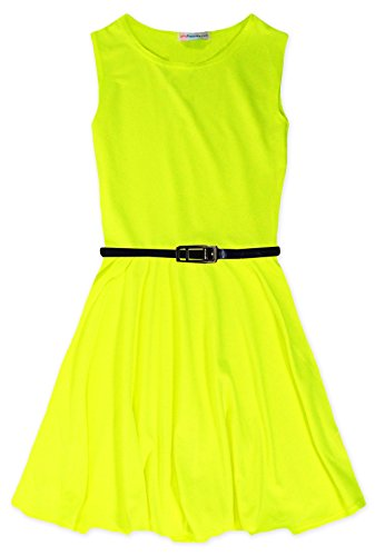 [Jolly Rascals Girls Sleeveless Vibrant Skater Dress Neon Yellow 7-8 Years] (Neon Party Dresses)
