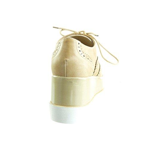 Plateforme Talon compensé Beige Chaussure Plateforme Femme 7 perforée Angkorly CM Richelieu Mode tAO44qwT