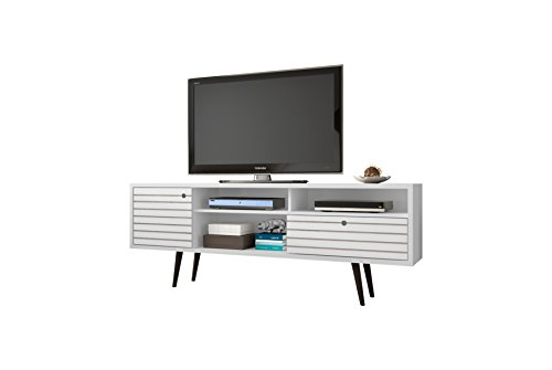 Manhattan Comfort Liberty Collection Mid Century Modern TV Stand With Three Shelves, One Cabinet and One Drawer With Splayed Legs, White