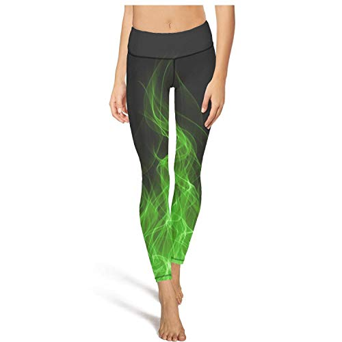AugGThomas Womens Green Flames Wallpaper Fire Workout Running Legging Tummy Control Stretch Yoga Pants with Pockets