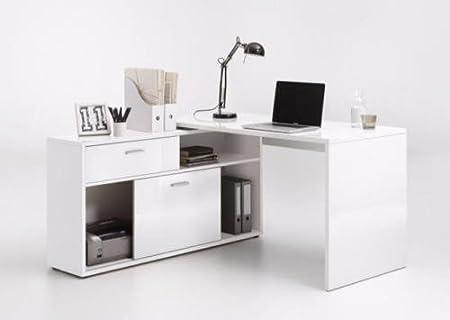 white office corner desk. Dievo SuperUP High Gloss White Computer Office Corner Desk With Shelving