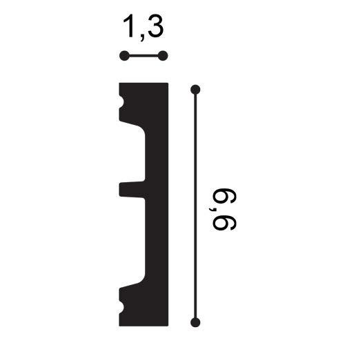 Z/ócalo Orac Decor SX157-RAL9003 AXXENT SQUARE Z/ócalo Multifuncional Moldura decorativa prepintada dise/ño moderno blanco se/ñales 2 m
