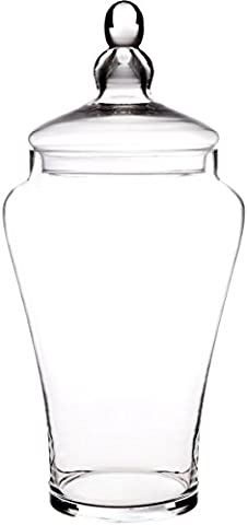 Elegant Clear Glass Apothecary Jar with Lid - 19-inch High Glass Canister - Home Decor & Party - High Apothecary Jar