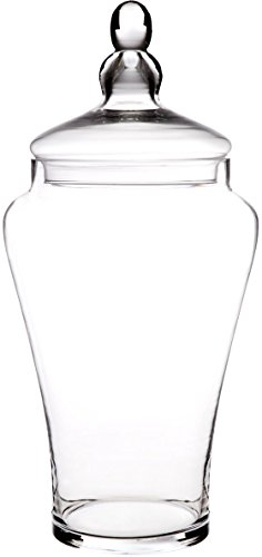 [Elegant Clear Glass Apothecary Jar with Lid - 19-inch High Glass Canister - Home Decor & Party Centerpiece] (Glass Vase Lid)