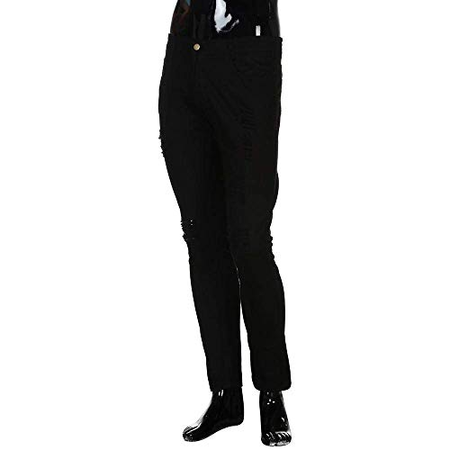 Cher Strappati Crepe Nastrate Casual Pantaloni Uomini Ragazzo Casuali Biker Uomo Dei Nero Retrò Denim Fit Magro Jeans Rt Del Elastico Fori Foro Slim Da Casuale EqqTwpH