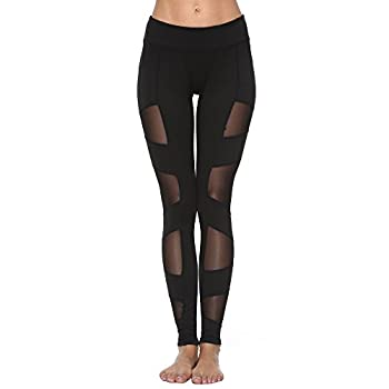 Feivo Yoga Pants, Women's Power Flex Yoga Pants Tummy Control Workout Yoga Capris Pants Leggings,mesh-black5,medium 0