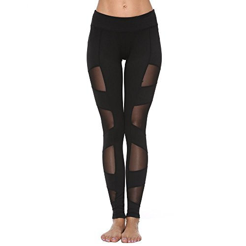 FEIVO Yoga Pants, Women's Power Flex Yoga Pants Tummy Control Workout Yoga Capris Pants Leggings,Mesh-black5,Small