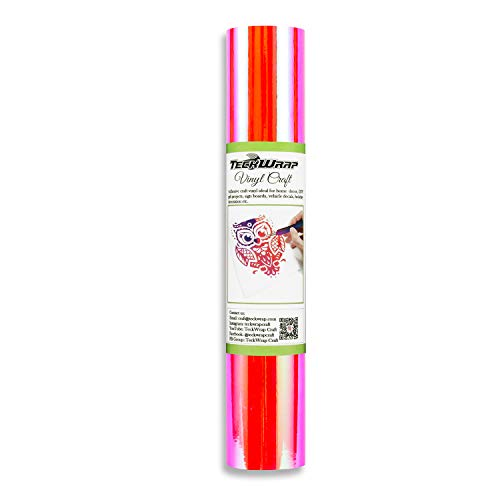 (Holographic Opal Chrome Vinyl 1ft x 5ft, Hot Pink)