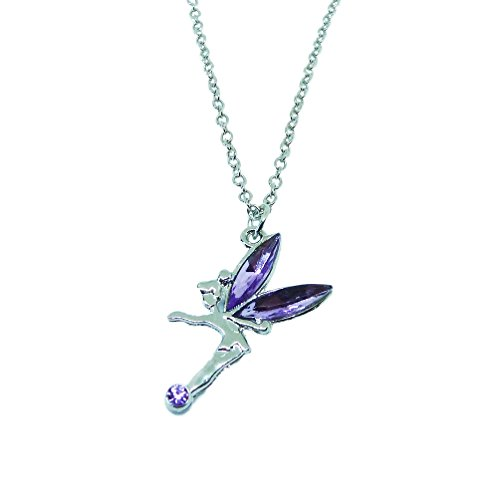 BellaMira 'A Little Fairy Dust Fairy Ballerina Angel Wings Silver Plated Necklace for Children Girls As Christening Confirmation Holy Communion Birthday Party Gift Boxed (Purple)