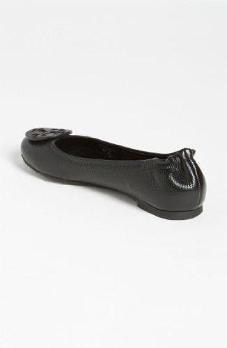 Tory Burch Ballet Leather Reva Classic Flats BLACK SILVER TB Logo 002 (7)