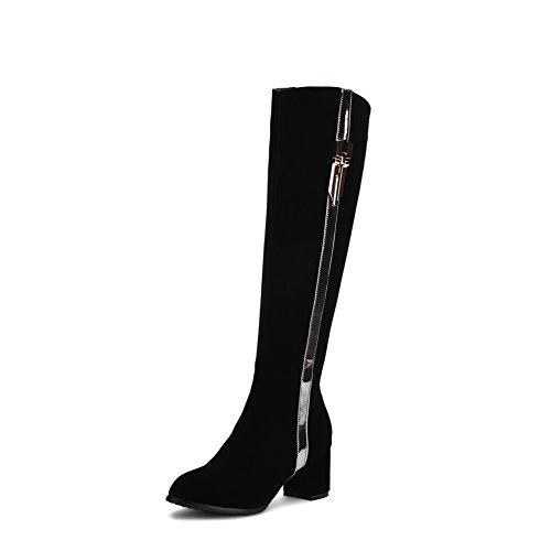 AllhqFashion Mujeres Caña Alta Dos tonos Cremallera Tacón Grueso Botas con Ornamento Metal Negro