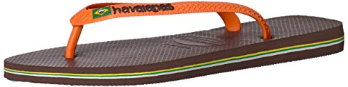 Sandals Flip Logo Flop - Havaianas Men's Brazil Logo Flip Flop Sandal,Dark Brown/Orange, 43/44 BR(10-11 M US Men's)