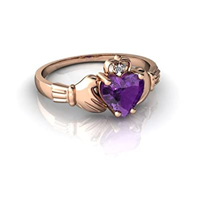 14kt Gold Amethyst and Diamond 6mm Heart Claddagh Ring