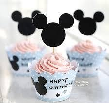 Mickey Mouse Minnie Cupcake Toppers and Wrappers Birthday