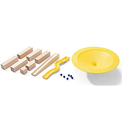HABA Big Speed Circle - Marble Ball Track Accessory with Wooden Ramp and Support Blocks & Plastic Funnel and Winding Track Piece (Made in Germany): Toys & Games