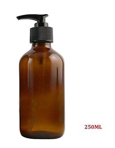 250ML 8.33oz Empty Refillable Amber Glass Shampoo Shower Gel Packing Bottle Container Jar with Plastic Pump for Makeup Cosmetic Bath Soap Liquid Toiletries