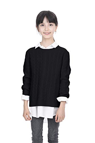Cashmere Sweater Cable (State Cashmere Kids Cable Crew Neck Long Sleeve Wool Cashmere Sweater Black)