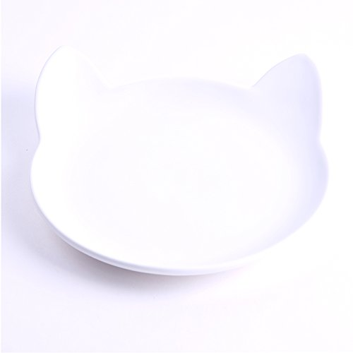 (Ceramic Kitty Plate and Saucer Bowl - Hooman Collection by ViviPet (Kitty Plate, White))