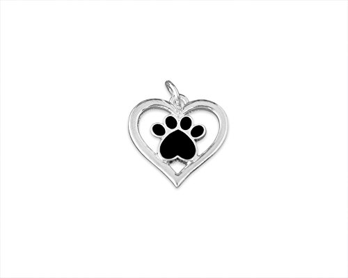 Black Paw Print Charm with Heart in a Bag (1 Charm - Retail)