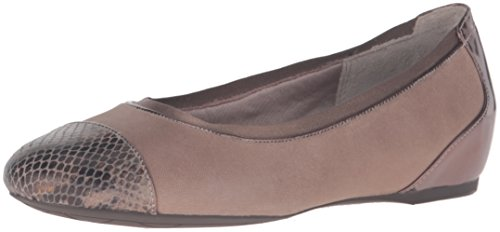 Rockport Gore Captoe Leder Wohnungen Misty Grey Shiny Leather