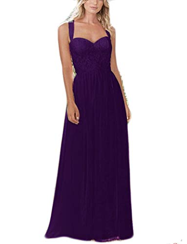 Liangjinsmkj Women S Long Sweetheart Neckline Lace Chiffon Bridesmaid Dress Wedding Guest Party Prom Dress Purple Us6