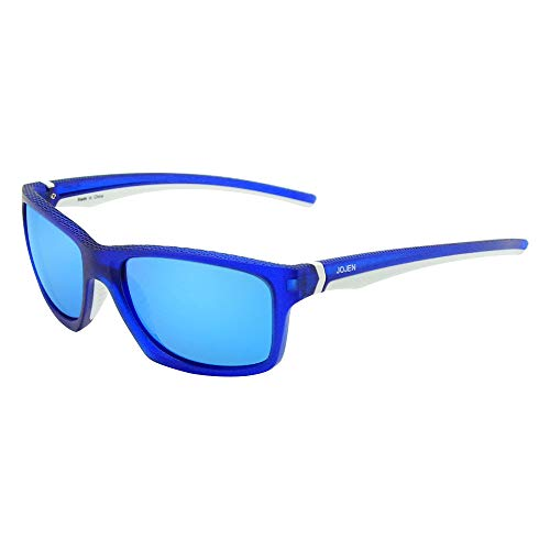 JOJEN Polarized Sports Sunglasses for men women Baseball Running Cycling Fishing Golf Tr90 ultralight Frame JE001 (Blue&White Frame Blue REVO ()