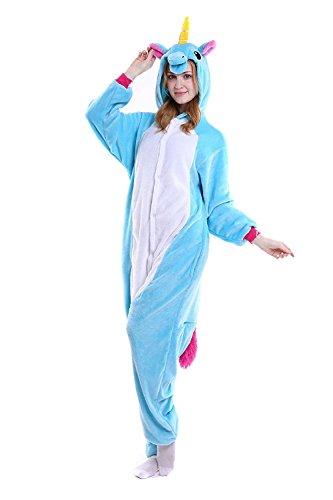 Flanella Unisex Animali Unicorn Tuta Costume Pigiama Cosplay Party Pigiama Sleepwear Blu Cosplay Halloween CozofLuv 6W7cPnBn