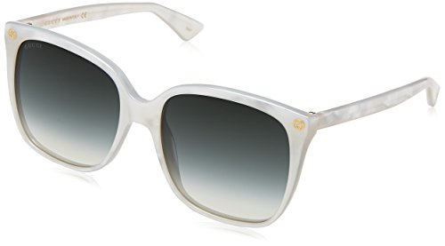 Gucci GG0022S-004 Cat Eye Sunglasses White/Green ()