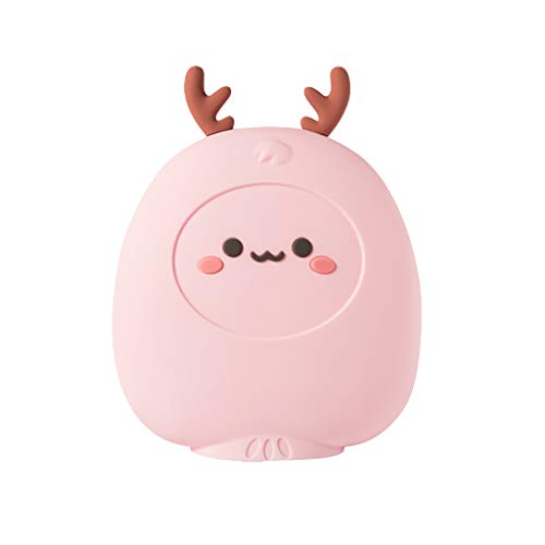 Fan-Ling Cute Cartoon Explosion-Proof Hand Warmer,Water Injection Hot Water Bottle,Large Portable Hand Warmer,Multi-Function Thermos,Fashionable and Colorful (Pink)