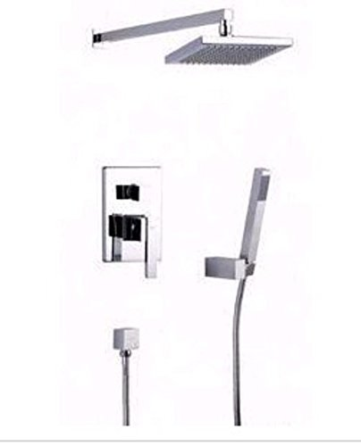 (ZZB All Copper Thick Square Tube/Wall Mounted Concealed Shower Faucet/Set with rain)