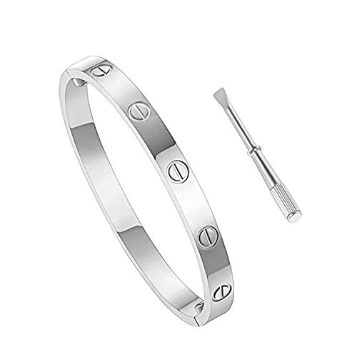 Love Bracelet Stainless Steel Cuff Bangle Titanium Steel Screws Womens Bracelet (White Gold, 19)