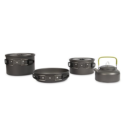One Earth Designs Camping Cookware Set | Lightweight Cooking Gear with Kettle, Two Pots, and Frying Pan | SolSource Sport Cookset