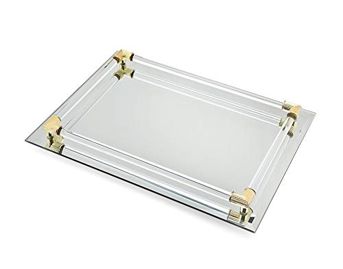 Mirror Tray Vanity Tray Serving Tray with Crystal Border - 9