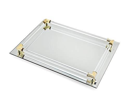 "Mirror Tray Vanity Tray Serving Tray with Crystal Border - 9"" x 14"""