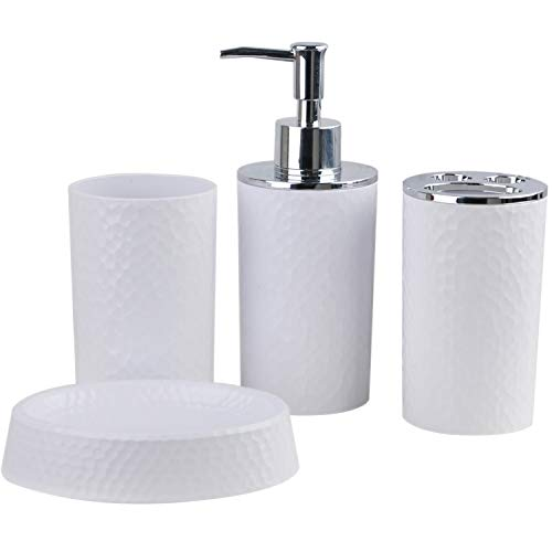 CERBIOR Bathroom Accessories Set 4 Piece Bath Ensemble Includes Soap Dispenser, Toothbrush Holder, Tumbler, Soap Dish for Decorative Countertop and Housewarming Gift, ()