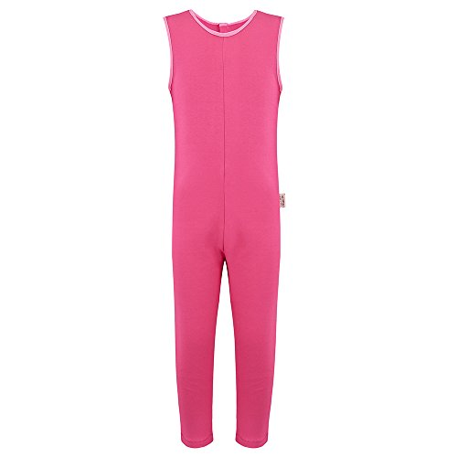 Special Needs Unisex Sleeveless, Button Back Jumpsuit - HOT Pink (7-8 yrs) (Marks And Spencer T-shirt)