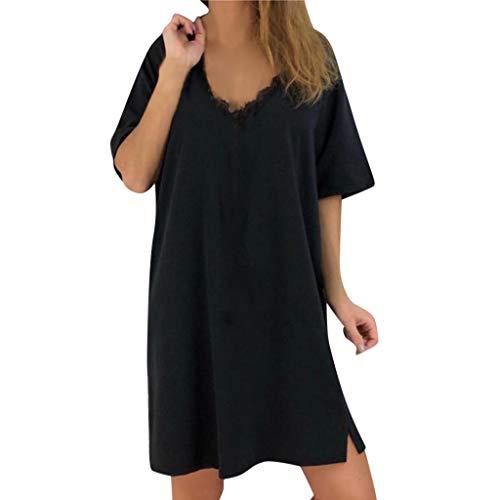 (⚡HebeTop⚡ Womens Vintage Dresses Solid Casual Loose Short Sleeve V-Neck Summer Dress Black)