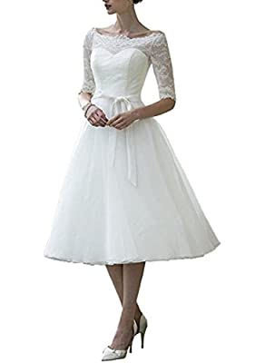 Dobelove Lace Half Sleeves Tea Length Ball Gown Wedding Dress