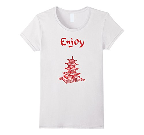 Bowl Of Noodles Costume (Womens Enjoy Asian Food Halloween Costume T-Shirt Tshirt Small White)