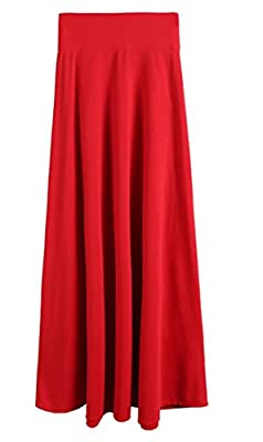 S-Fly Women's Stylish High Waist Pleated Solid Color Big-Tall Maxi Skirts