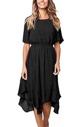 Black Pleated Chiffon - Alaster Queen Casual Chiffon Black Pleated Dress ShortSleeve Ladies Summer midi Dress for Women