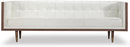 MLF Modern Style Grande Loveseat Sofa Multi Colors Size Available , Black Premium Aniline Leather