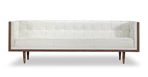 Kardiel Woodrow Midcentury Modern Box Sofa, White Aniline Leather/Walnut