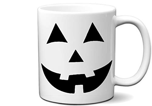 Jack O Lantern Halloween Pumpkin Face Costume White 11 Ounce Coffee Mug | Great Gift for Halloween Party, Pumpkin Lovers and Everyone by Hot Ass Tees -
