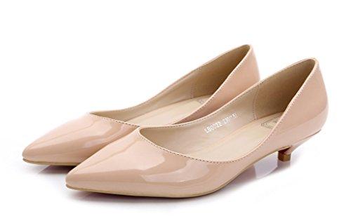 Mode Féminine Classique Slip Sur Bout Pointu Robe Chaussures Talon Bas Pompe Dames Chaussures 02 # Pu Nu