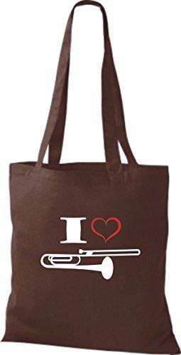 Marron En Tissu Shirtstown Instrument Love Pâle Pochette Trombone Musique I agxfwTqfpU
