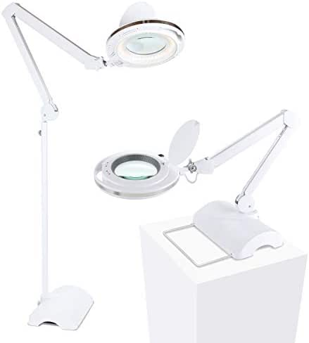 Brightech Lightview Pro 2 in 1 - Magnifying Glass LED Reading Lamp Converts from Table to Floor Lamp - Real Diopter Glass Magnifier with Bright Lights - for Crafts & Professional Tasks